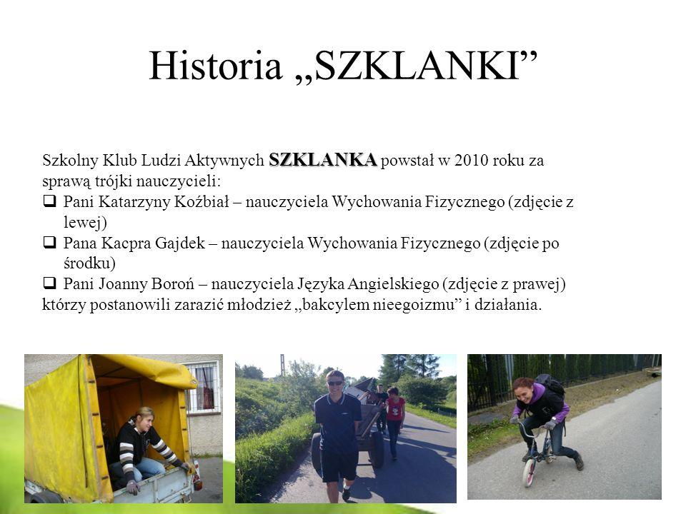 """Historia """"SZKLANKI Szkolny Klub Ludzi Aktywnych SZKLANKA powstał w 2010 roku za sprawą trójki nauczycieli:"""