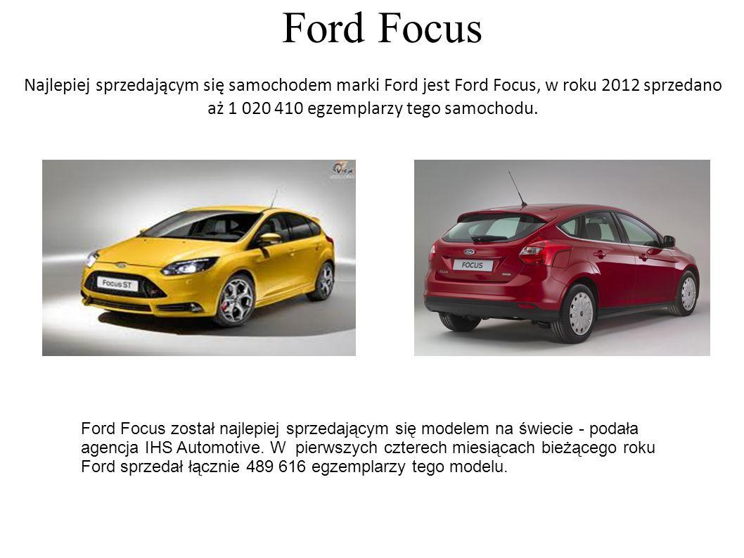 Ford Focus Najlepiej sprzedającym się samochodem marki Ford jest Ford Focus, w roku 2012 sprzedano aż 1 020 410 egzemplarzy tego samochodu.