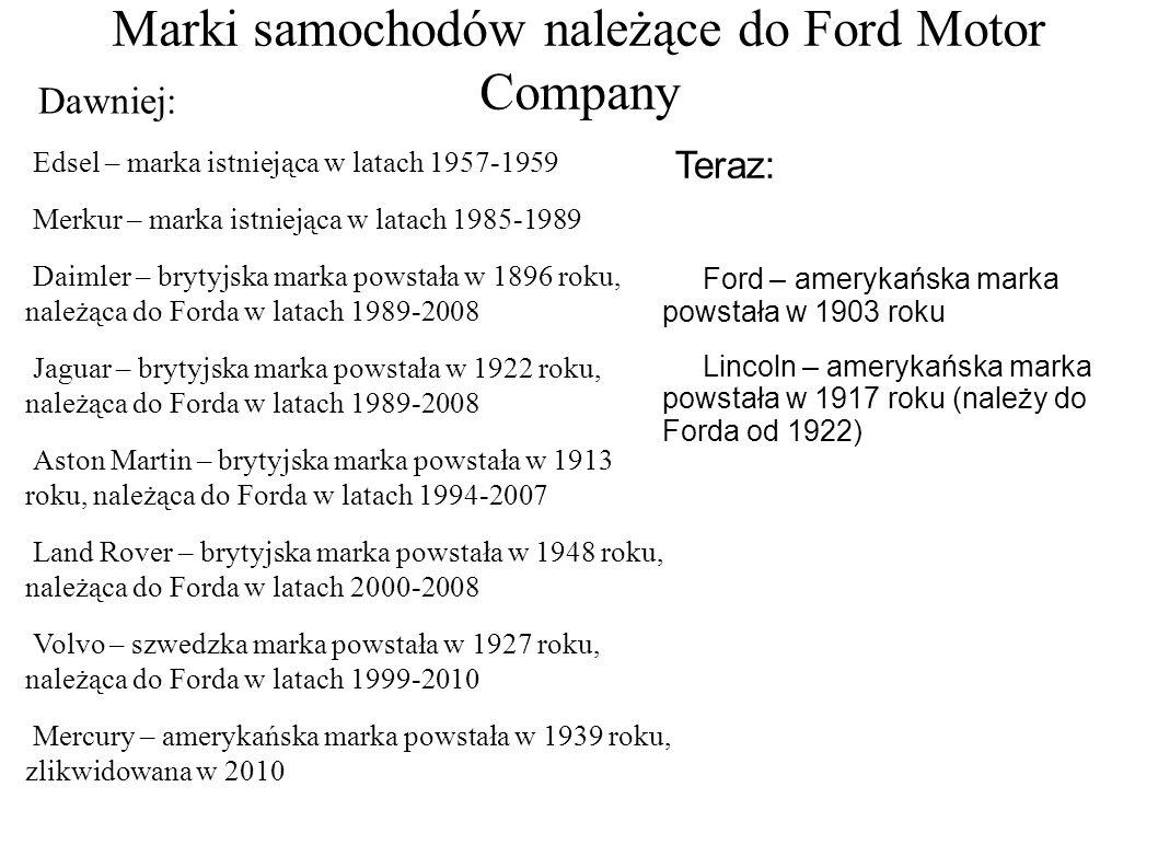 Marki samochodów należące do Ford Motor Company