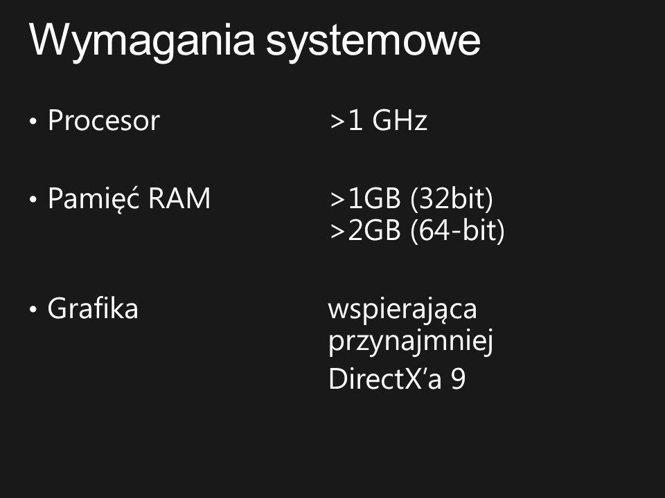 Wymagania systemowe Procesor >1 GHz