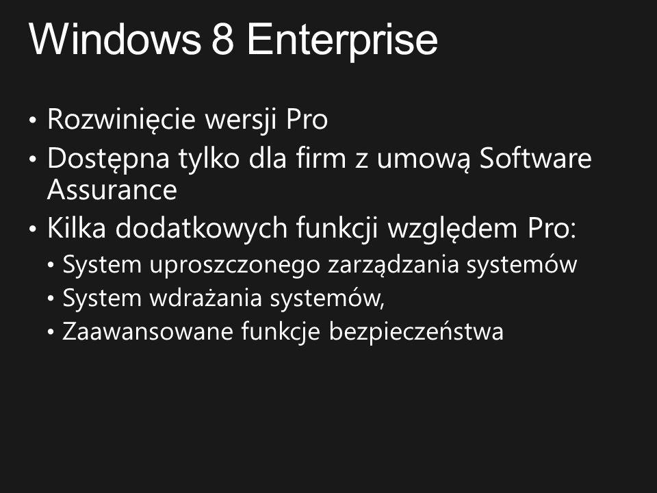 Windows 8 Enterprise Rozwinięcie wersji Pro