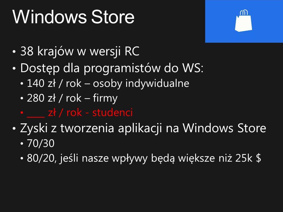 Windows Store 38 krajów w wersji RC Dostęp dla programistów do WS: