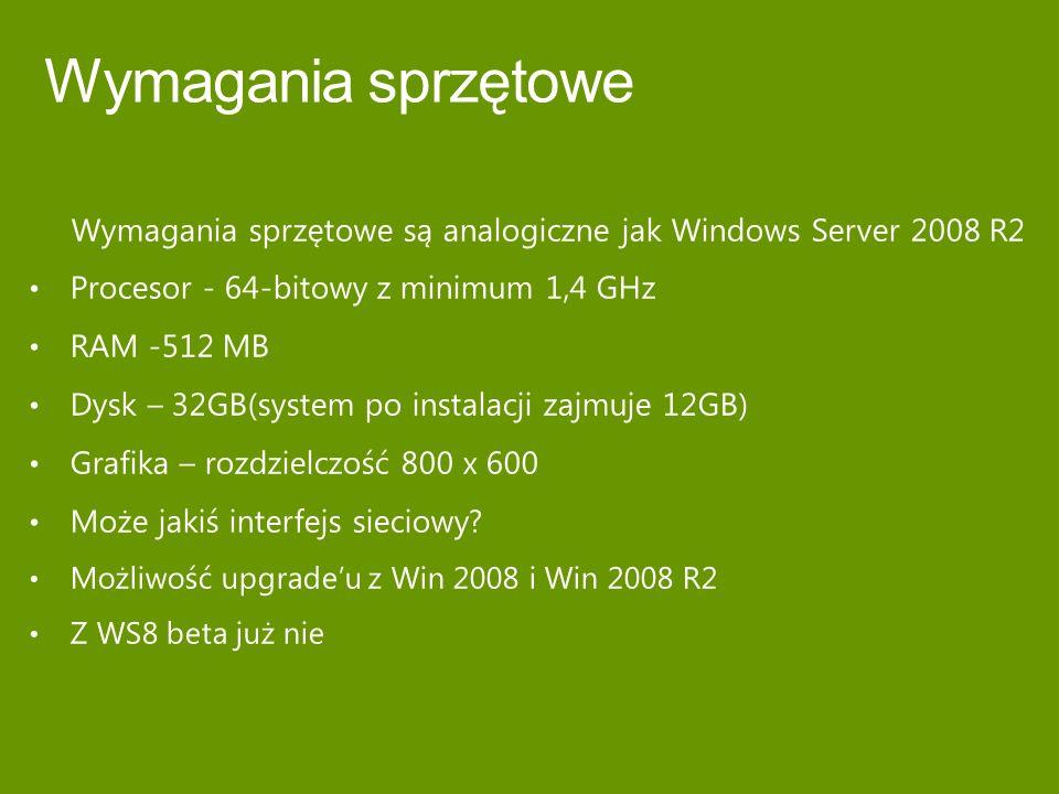 Wymagania sprzętowe Wymagania sprzętowe są analogiczne jak Windows Server 2008 R2. Procesor - 64-bitowy z minimum 1,4 GHz.