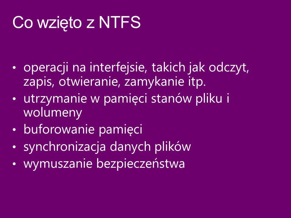 Co wzięto z NTFS operacji na interfejsie, takich jak odczyt, zapis, otwieranie, zamykanie itp. utrzymanie w pamięci stanów pliku i wolumeny.