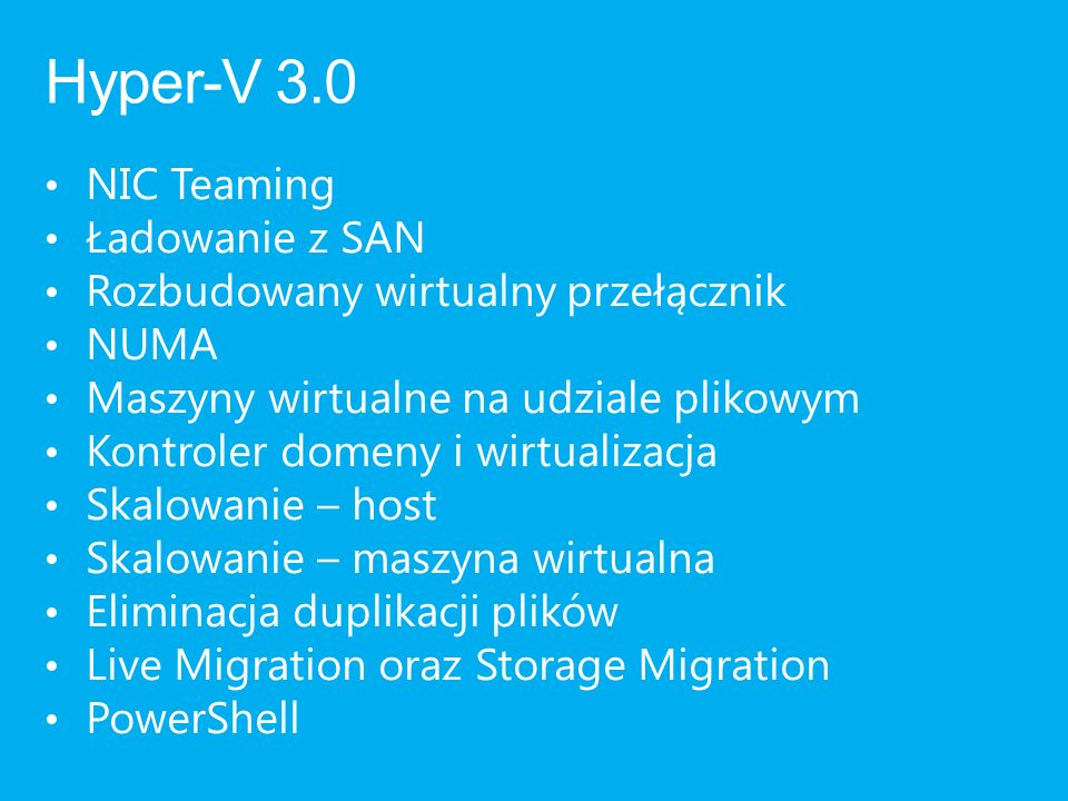 Hyper-V 3.0 NIC Teaming Ładowanie z SAN