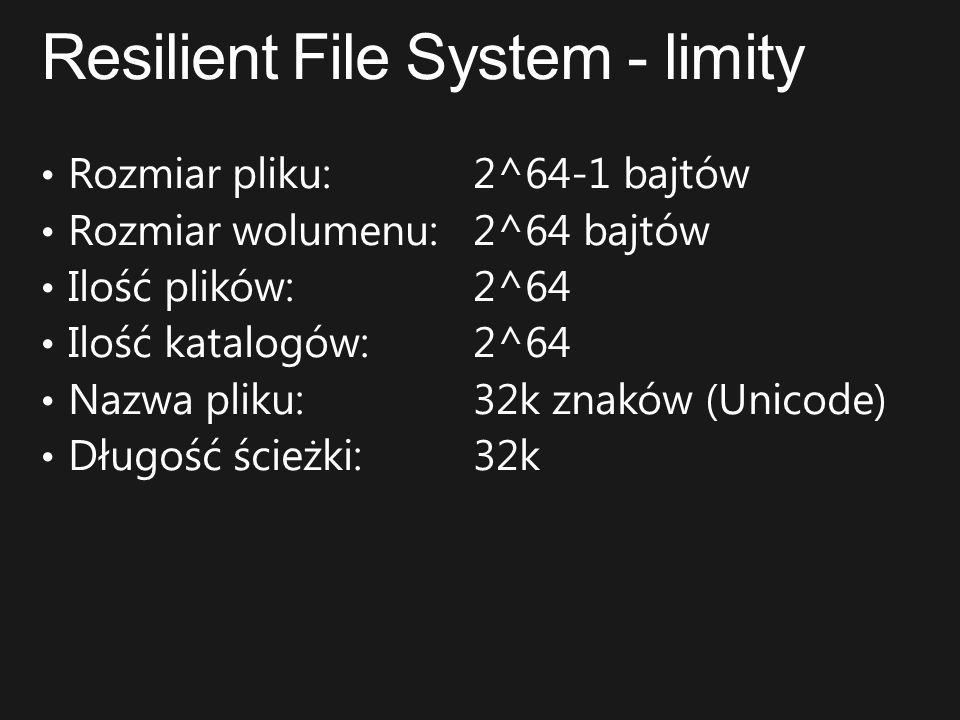 Resilient File System - limity
