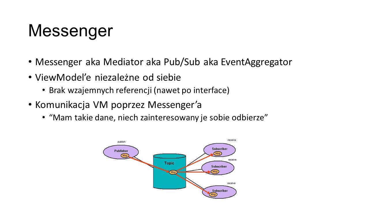 Messenger Messenger aka Mediator aka Pub/Sub aka EventAggregator