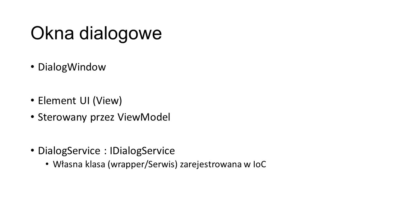 Okna dialogowe DialogWindow Element UI (View)