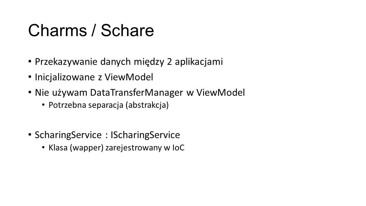 Charms / Schare Przekazywanie danych między 2 aplikacjami