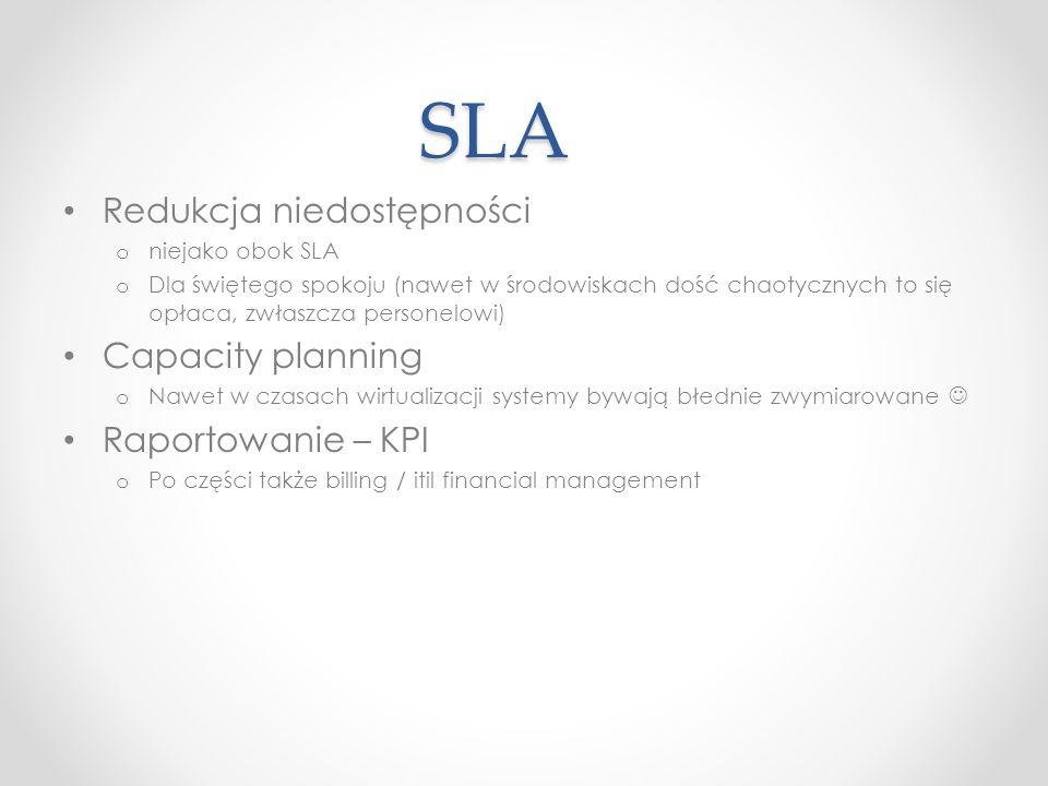 SLA Redukcja niedostępności Capacity planning Raportowanie – KPI
