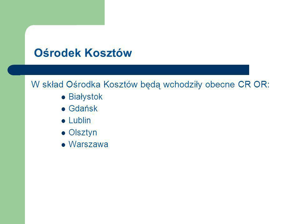 Ośrodek Kosztów W skład Ośrodka Kosztów będą wchodziły obecne CR OR: