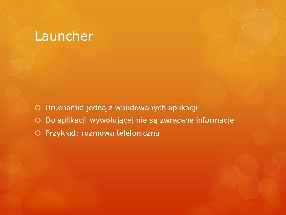 Launcher Uruchamia jedną z wbudowanych aplikacji