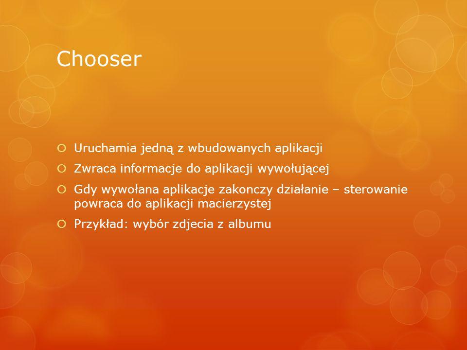 Chooser Uruchamia jedną z wbudowanych aplikacji
