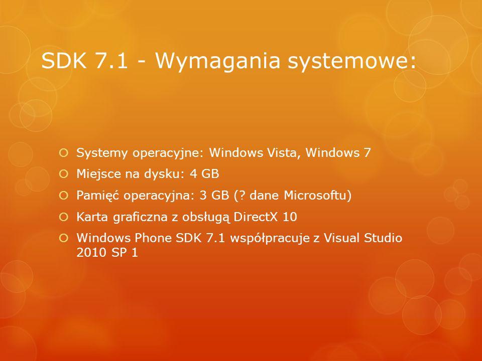 SDK 7.1 - Wymagania systemowe: