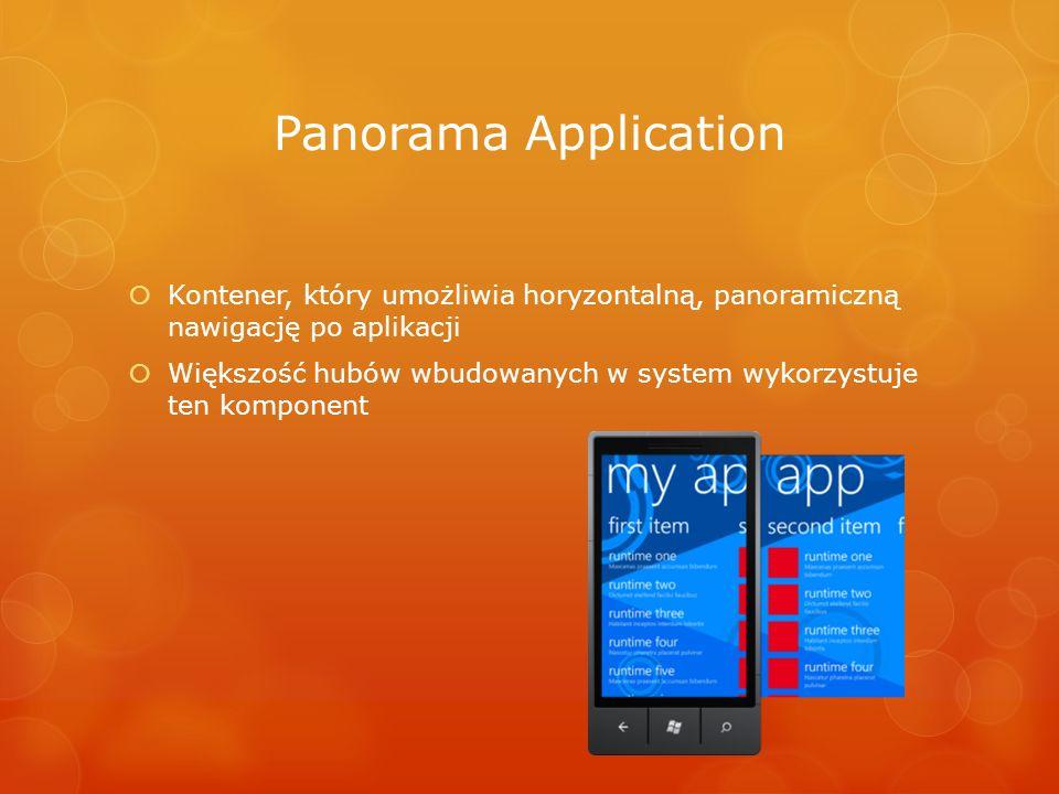 Panorama Application Kontener, który umożliwia horyzontalną, panoramiczną nawigację po aplikacji.