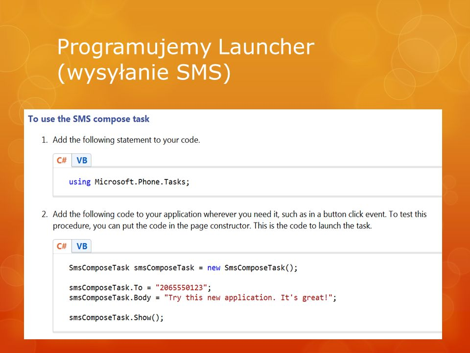 Programujemy Launcher (wysyłanie SMS)