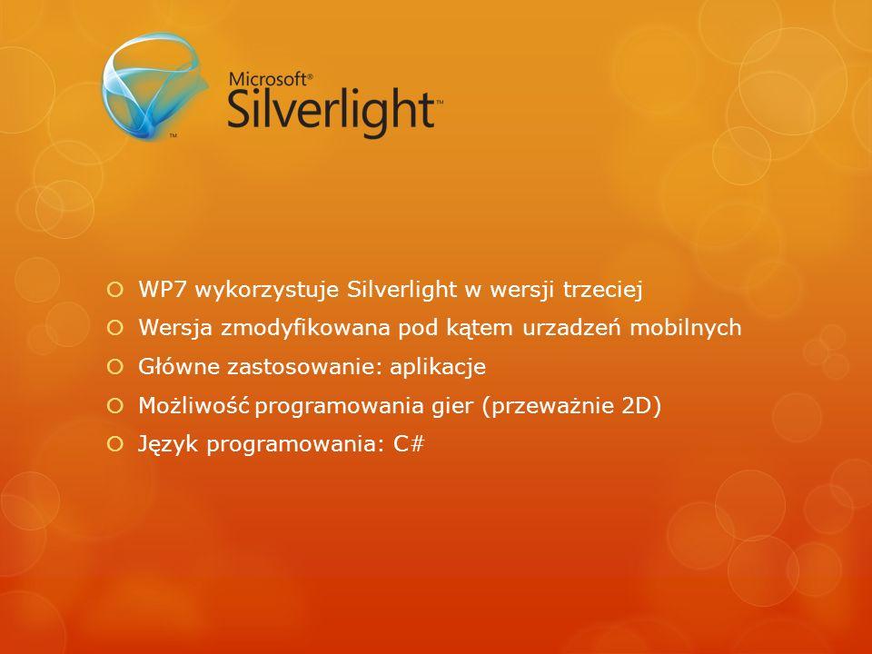 WP7 wykorzystuje Silverlight w wersji trzeciej