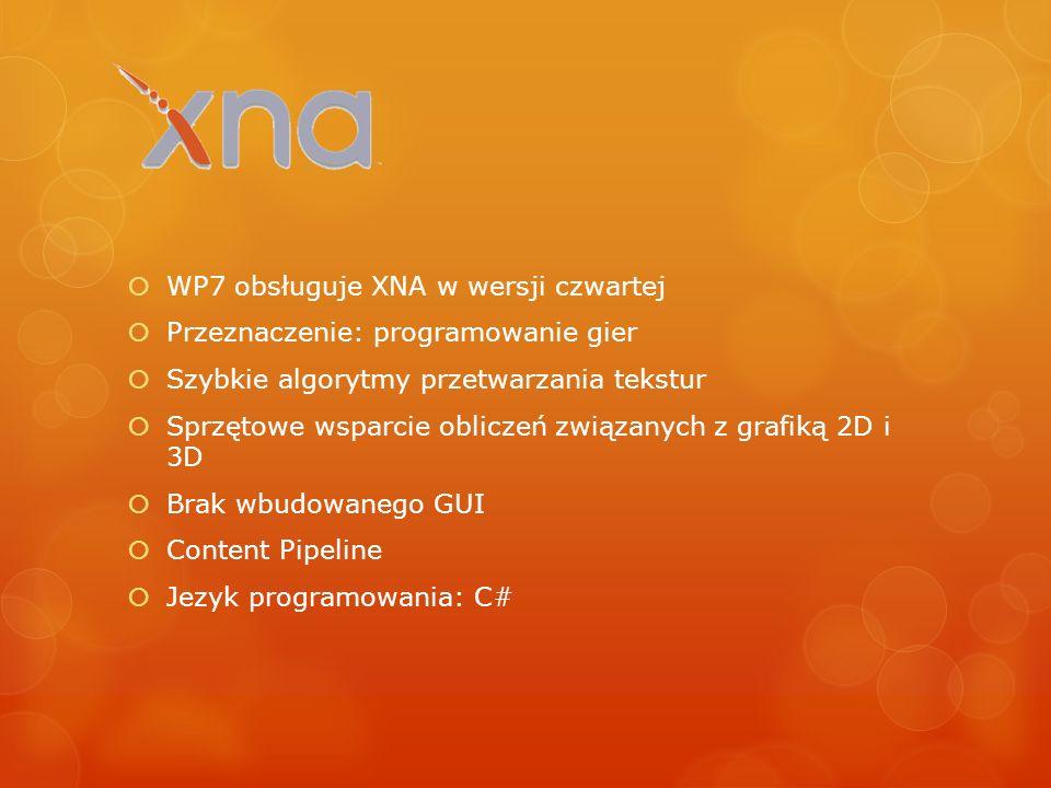 WP7 obsługuje XNA w wersji czwartej