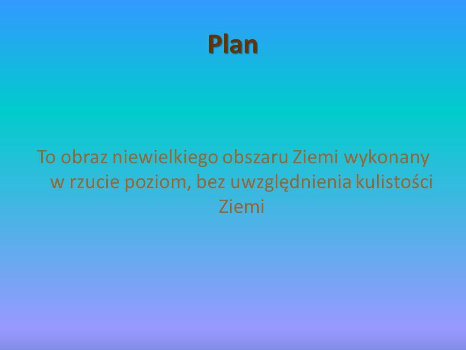 Plan To obraz niewielkiego obszaru Ziemi wykonany w rzucie poziom, bez uwzględnienia kulistości Ziemi.