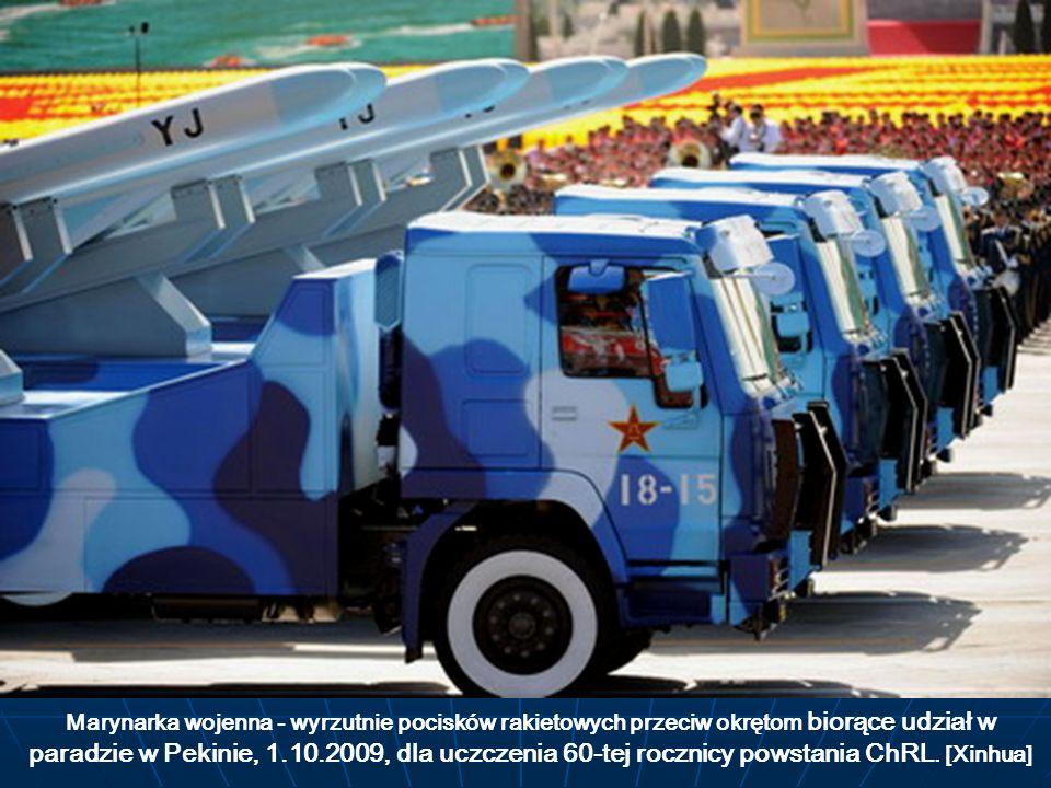 Marynarka wojenna - wyrzutnie pocisków rakietowych przeciw okrętom biorące udział w paradzie w Pekinie, 1.10.2009, dla uczczenia 60-tej rocznicy powstania ChRL.