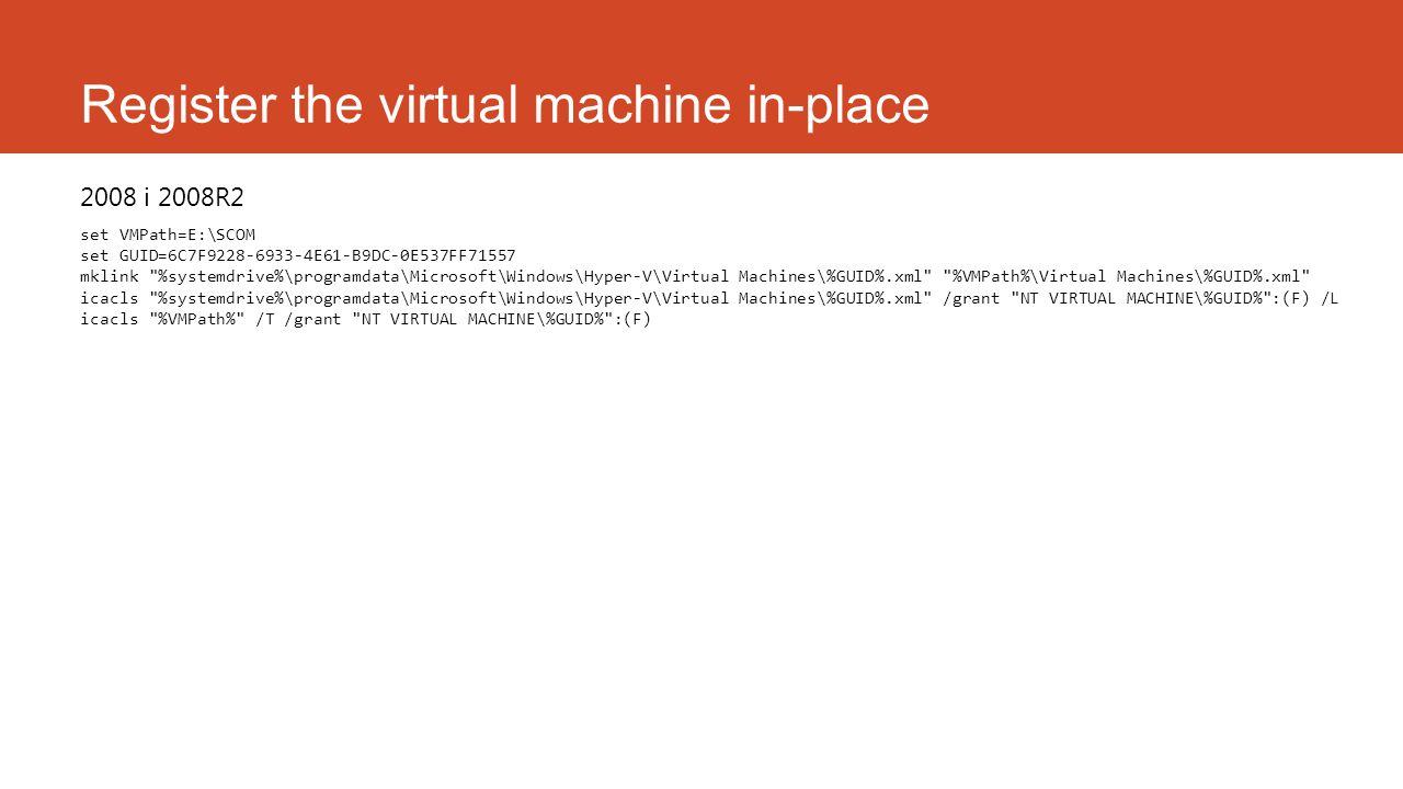 Register the virtual machine in-place