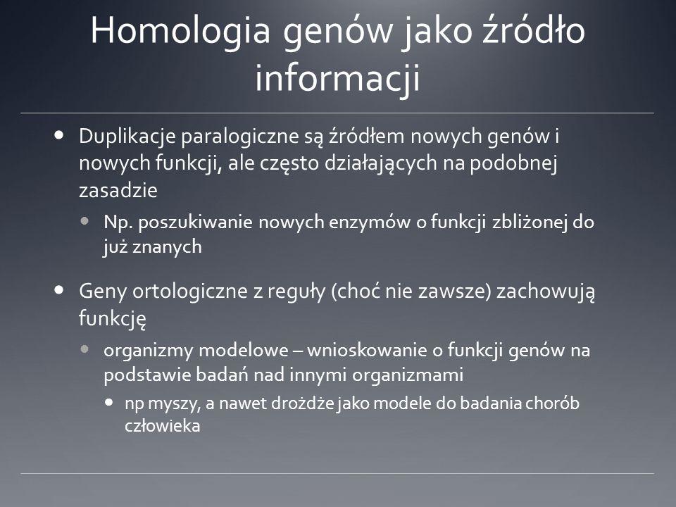 Homologia genów jako źródło informacji