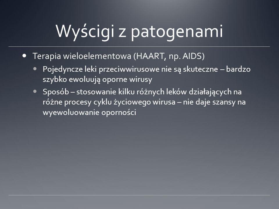 Wyścigi z patogenami Terapia wieloelementowa (HAART, np. AIDS)