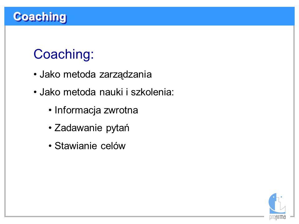 Coaching: Coaching Jako metoda zarządzania