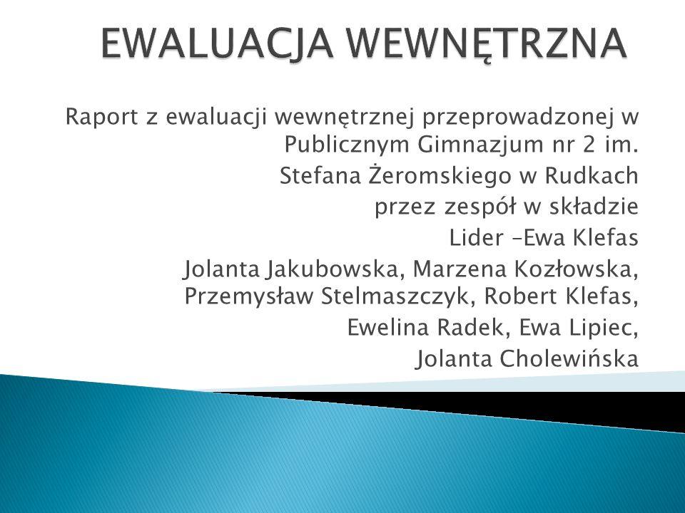 EWALUACJA WEWNĘTRZNA Raport z ewaluacji wewnętrznej przeprowadzonej w Publicznym Gimnazjum nr 2 im.