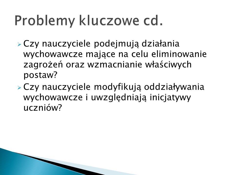 Problemy kluczowe cd. Czy nauczyciele podejmują działania wychowawcze mające na celu eliminowanie zagrożeń oraz wzmacnianie właściwych postaw