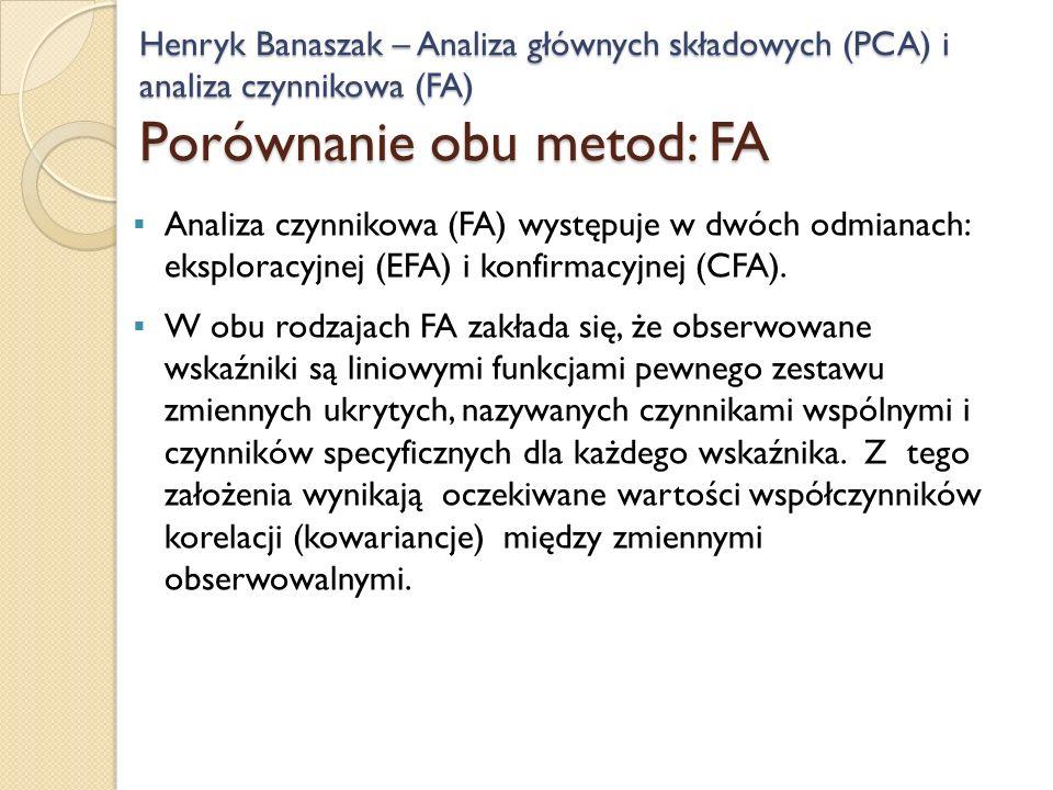 Henryk Banaszak – Analiza głównych składowych (PCA) i analiza czynnikowa (FA) Porównanie obu metod: FA