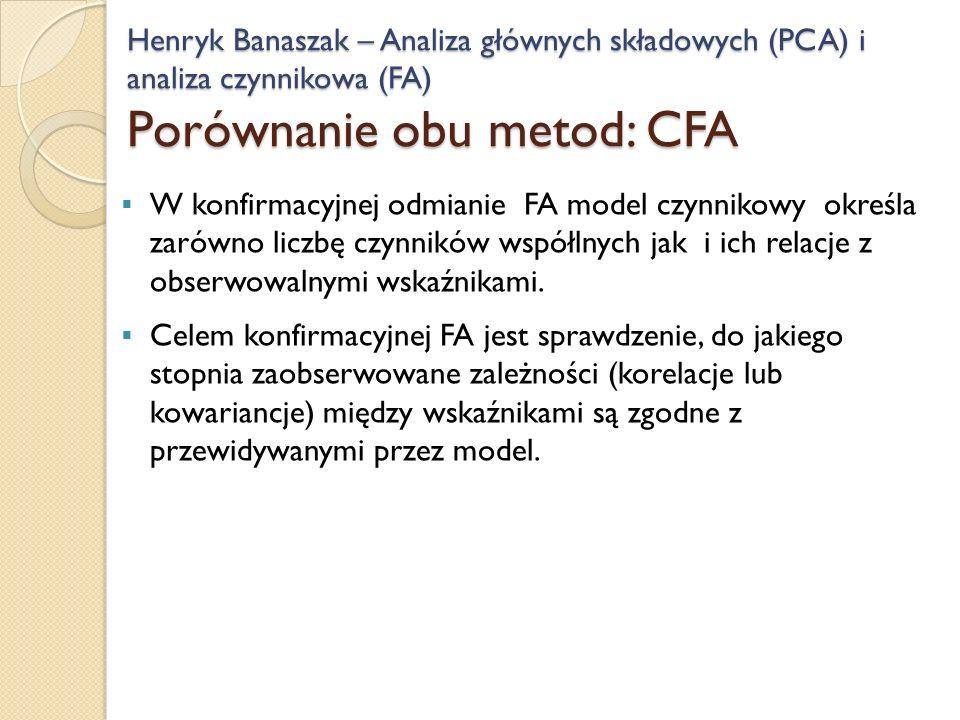Henryk Banaszak – Analiza głównych składowych (PCA) i analiza czynnikowa (FA) Porównanie obu metod: CFA