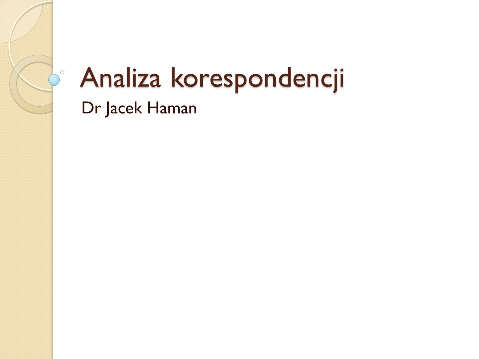 Analiza korespondencji