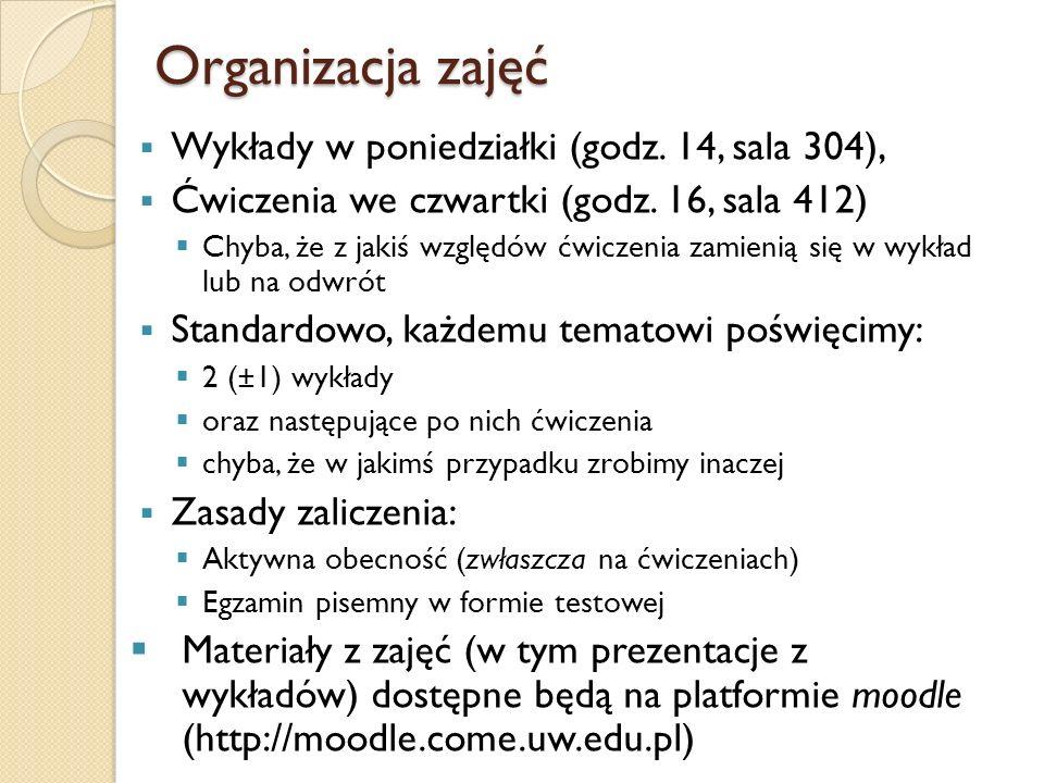 Organizacja zajęć Wykłady w poniedziałki (godz. 14, sala 304),
