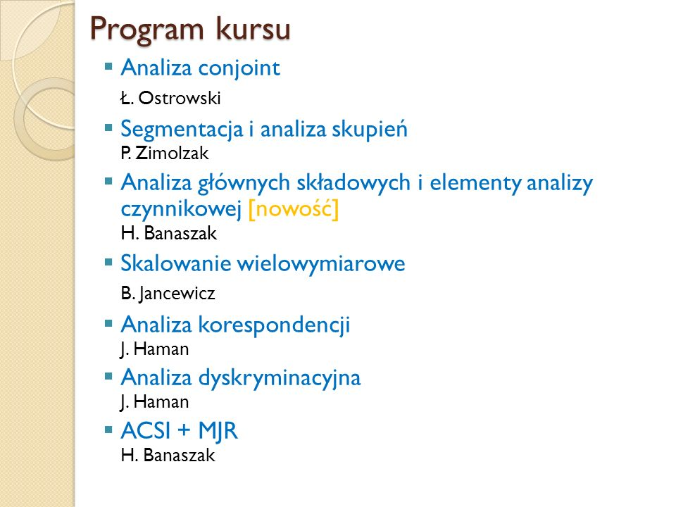 Program kursu Analiza conjoint Ł. Ostrowski