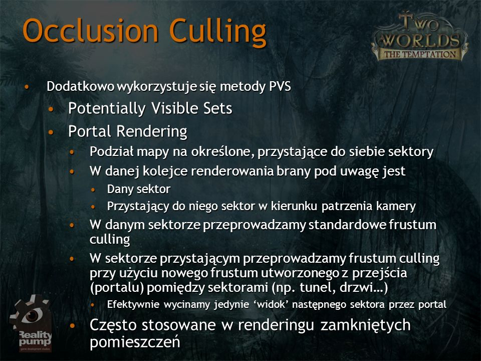 Occlusion Culling Potentially Visible Sets Portal Rendering