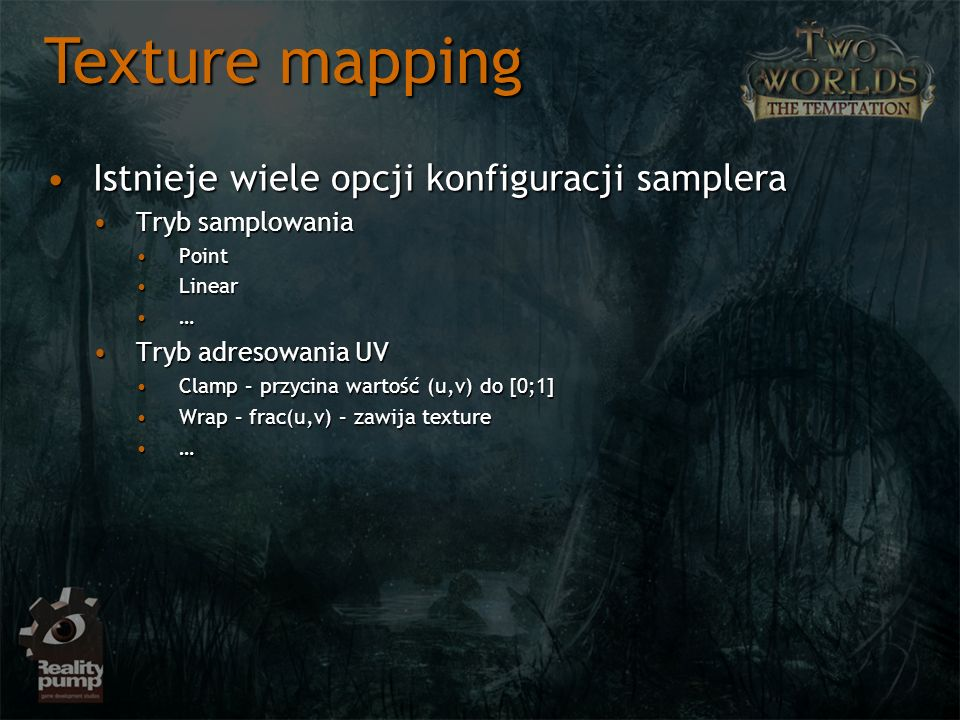 Texture mapping Istnieje wiele opcji konfiguracji samplera