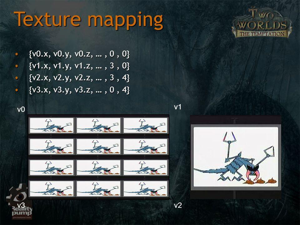Texture mapping {v0.x, v0.y, v0.z, … , 0 , 0}