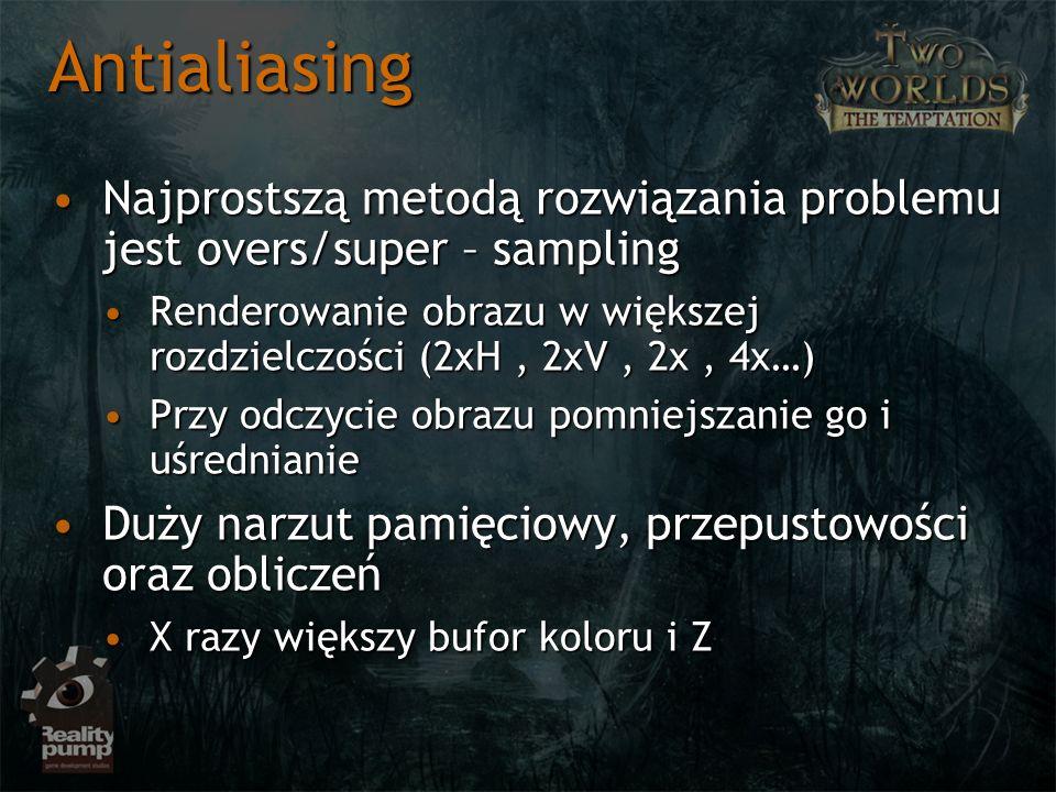 Antialiasing Najprostszą metodą rozwiązania problemu jest overs/super – sampling.