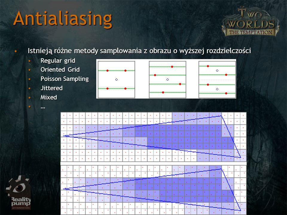 Antialiasing Istnieją różne metody samplowania z obrazu o wyższej rozdzielczości. Regular grid. Oriented Grid.