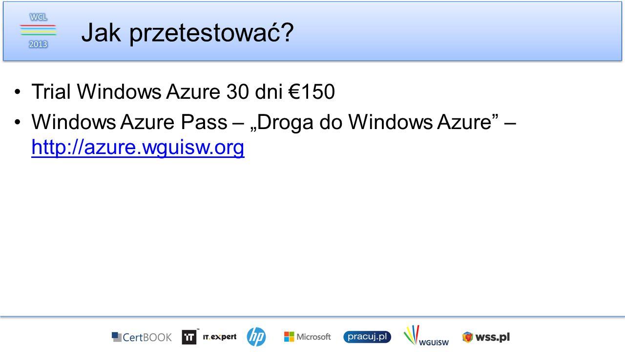 Jak przetestować Trial Windows Azure 30 dni €150