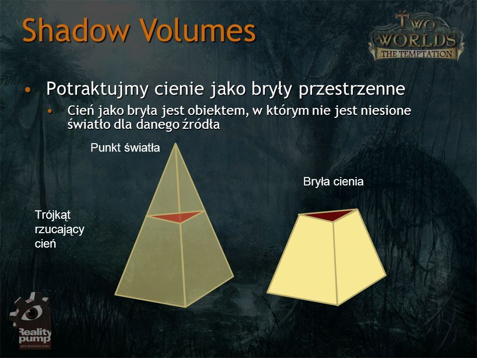 Shadow Volumes Potraktujmy cienie jako bryły przestrzenne