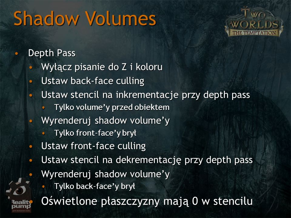Shadow Volumes Oświetlone płaszczyzny mają 0 w stencilu Depth Pass