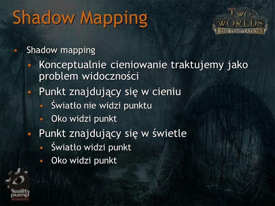 Shadow Mapping Shadow mapping. Konceptualnie cieniowanie traktujemy jako problem widoczności. Punkt znajdujący się w cieniu.