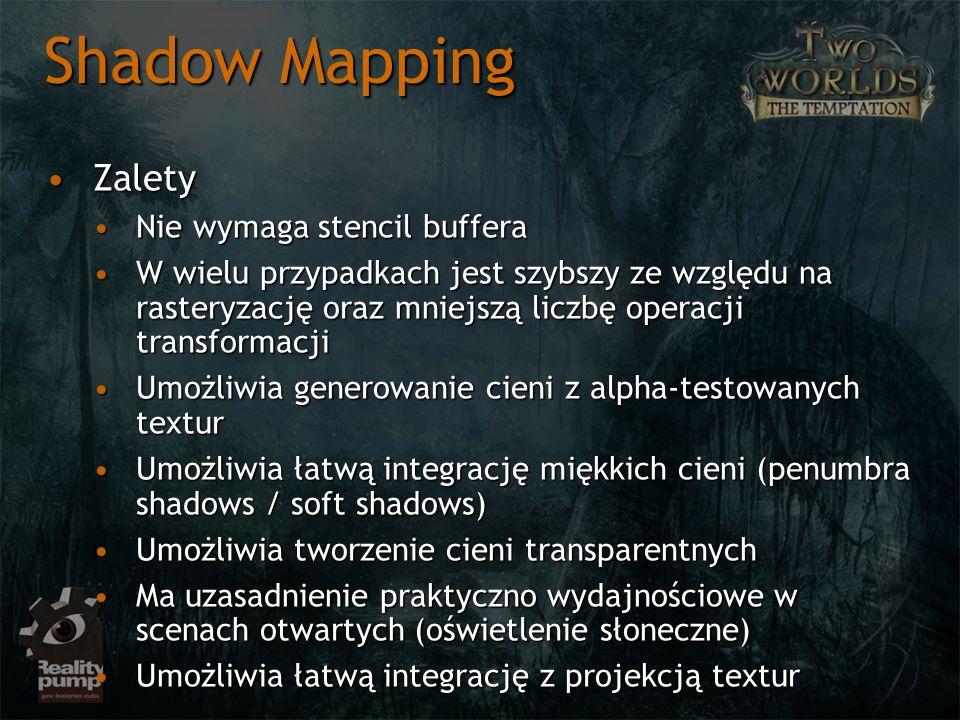 Shadow Mapping Zalety Nie wymaga stencil buffera