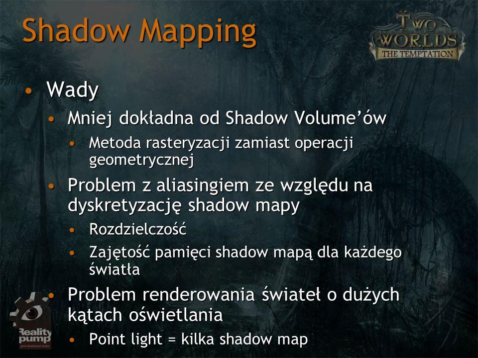 Shadow Mapping Wady Mniej dokładna od Shadow Volume'ów