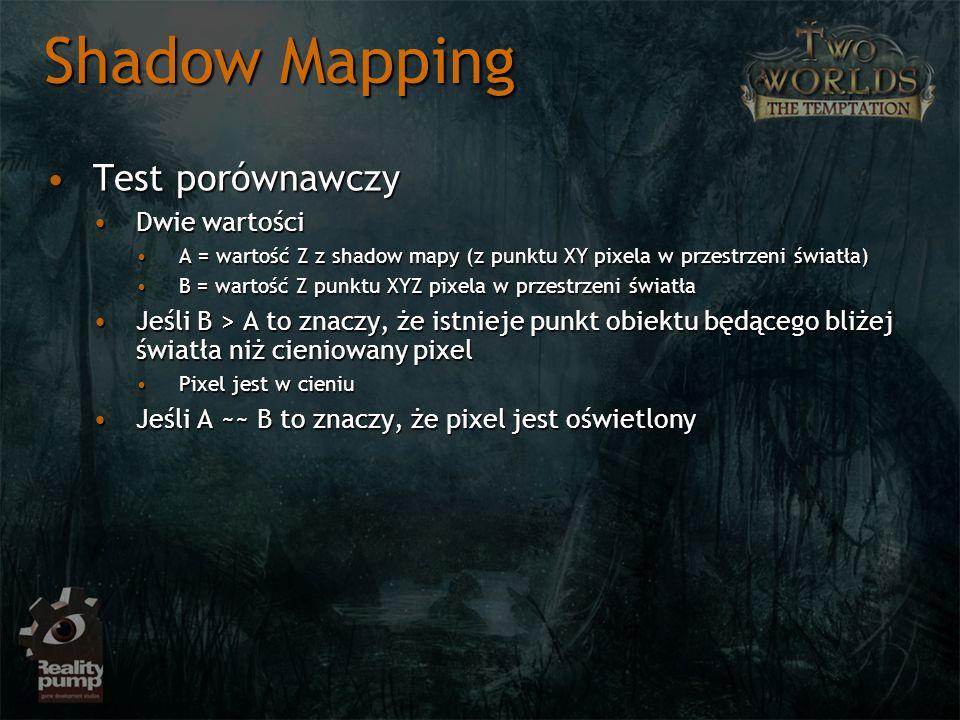 Shadow Mapping Test porównawczy Dwie wartości