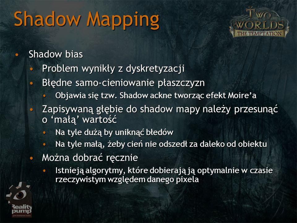Shadow Mapping Shadow bias Problem wynikły z dyskretyzacji