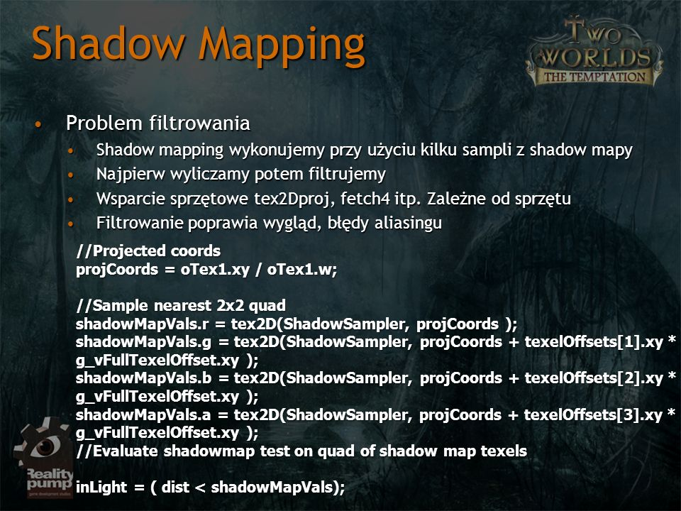 Shadow Mapping Problem filtrowania