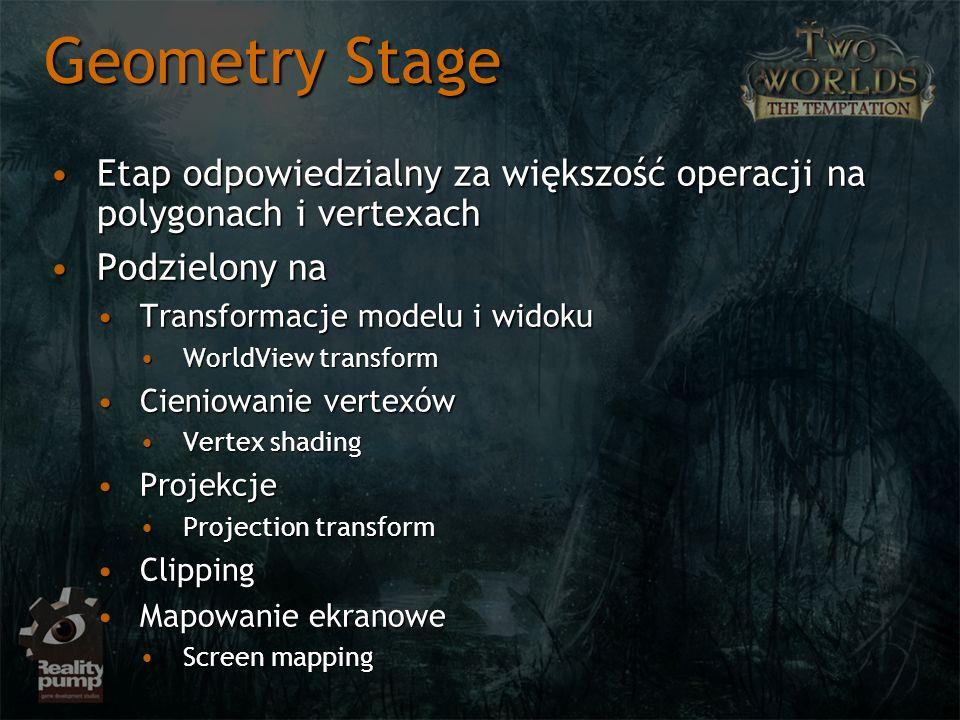 Geometry Stage Etap odpowiedzialny za większość operacji na polygonach i vertexach. Podzielony na.
